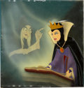 Animation Art:Production Cel, Snow White and the Seven Dwarfs Old Hag and Evil QueenProduction Cel and Courvoisier Background Setup (Walt Disney, 1...