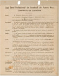 Autographs:Others, 1939-40 Satchel Paige Signed Puerto Rican Winter League Contract.. ...