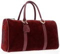 Luxury Accessories:Bags, Cartier Burgundy Suede & Leather Weekender Bag. ...