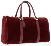 Cartier Burgundy Suede & Leather Weekender Bag