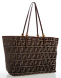 Luxury Accessories:Bags, Fendi Zucca Monogram Velour Tote Bag. ...