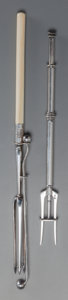 Silver Smalls:Other , TWO SILVER-PLATED OLIVE SERVING FORKS COMPRISING ONE WMF AND ONECHRISTOFLE , Paris, France & Geislingen an der Steige, Germ...(Total: 2 Items)