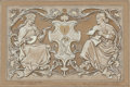 Fine Art - Work on Paper:Drawing, ELIHU VEDDER (American, 1836-1923). Design for Pyrograph,Sedile, or Cassetta, circa 1872-77. Pencil and chalk onpaper...