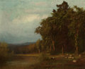 Paintings, ALEXANDER HELWIG WYANT (American, 1836-1892). Cattle Grazing, Late Afternoon. Oil on canvas. 9-3/4 x 11-1/2 inches (24.8... (Total: 2 Items)