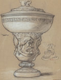 Fine Art - Work on Paper:Drawing, ELIHU VEDDER (American, 1836-1923). Design for Bronze Cup,1899. Pencil and chalk on paper. 12-1/2 x 9 inches (31.8 x 22...