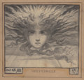 Fine Art - Work on Paper:Drawing, ELIHU VEDDER (American, 1836-1923). Weirdness, 1868. Pencilon paper. 4-7/8 x 3-1/4 inches (12.4 x 8.3 cm) (sight). Init...