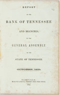 Books:Americana & American History, Tennessee: REPORT OF THE BANK OF TENNESSEE AND BRANCHES. TO THEGENERAL ASSEMBLY OF THE STATE OF TENNESSEE. OCTOBER, 1855. N...