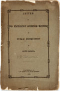 Books:Americana & American History, Thornwell, J.H.: LETTER TO HIS EXCELLENCY GOVERNOR MANNING ONPUBLIC INSTRUCTION IN SOUTH CAROLINA. Columbia: 1853. 36pp, se...