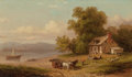 Fine Art - Painting, American:Antique  (Pre 1900), XANTHUS SMITH (American, 1839-1929). The Wood Cart, 1881.Oil on canvas. 7 x 12 inches (17.8 x 30.5 cm). Signed and date...(Total: 2 Items)