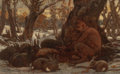 Paintings, ELIHU VEDDER (American, 1836-1923). Young Marsyas Charming the Hares. Oil on canvas laid on board. 7-5/8 x 12-1/8 inches...