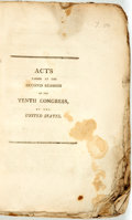 Books:Americana & American History, United States: ACTS PASSED AT THE SECOND SESSION OF THE TENTHCONGRESS. Washington: [1809]. pp. 182-309, iv, 28pp. Title pag...