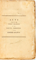 Books:Americana & American History, United States: ACTS PASSED AT THE FIRST SESSION OF THE NINTHCONGRESS OF THE UNITED STATES. [Washington: 1806]. 207, vi pp. ...