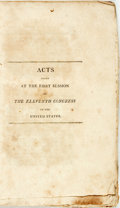 Books:Americana & American History, United States: ACTS PASSED AT THE FIRST SESSION OF THE ELEVENTHCONGRESS. Washington: [1810]. pp. 241, iv pp. Original plain...