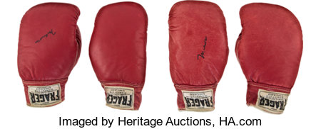 "1965 Muhammad Ali & Sonny Liston Fight Worn Gloves-Both Pairs from the Famous ""Phantom Punch"" Bout...."