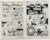 """George Tuska Rangers Comics #20 """"Glory Forbes"""" Story Pages 1 and 8 Original Art (Fiction House, 1942).... (Tot..."""