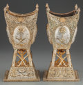 Silver & Vertu:Hollowware, A PAIR OF SAUDI ARABIAN SILVER AND SILVER GILT INCENSE BURNERS, circa 1955. Marks: (indecipherable mark to the underside). 1... (Total: 4 )