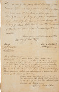 Autographs:Statesmen, [Moses Austin] and [Slavery]. Elias Bates Slave EmancipationDocument Signed....