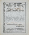 Autographs:Statesmen, Henry Francis Fisher Texas and German Emigration CompanyCertificate Signed...