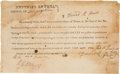 Autographs:Military Figures, [Texas Revolution]. Head Right Grant of Land Certificate....