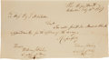 Autographs:Military Figures, [Republic of Texas]. William Fisher Letter Signed Twice asSecretary of War....
