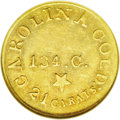 Territorial Gold: , (1837-42) $5 C.Bechtler Five Dollar, 134G, With Star MS60 NGC.Kagin-20, R.4. Attractive greenish-gold surfaces with colorf...