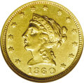 Territorial Gold: , 1860 $2 1/2 Clark, Gruber & Co. Quarter Eagle MS62 NGC.Kagin-1, R.4. With the exception of the larger denomination ($10an...