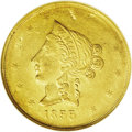"""Territorial Gold: , 1855 $10 Wass Molitor Ten Dollar AU55 NGC. K-6, R.5. The so-called """"Plugged Date"""" 1855 shows that the final digit (presumab..."""
