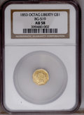 California Fractional Gold: , 1853 $1 Liberty Octagonal 1 Dollar, BG-519, Low R.4, AU58 NGC. Atypically struck but virtually Mint State example of this ...