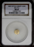 California Fractional Gold: , 1869 25C Liberty Octagonal 25 Cents, BG-712, High R.4, MS65 NGC. Abeautifully preserved and lustrous Gem. The grade is onl...