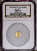 California Fractional Gold: , 1876 25C Indian Octagonal 25 Cents, BG-799, Nearly R.6, MS64Prooflike NGC. Misattributed in the NGC holder as BG-879. Reve...