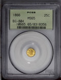 California Fractional Gold: , 1866 25C Liberty Round 25 Cents, BG-804, R.4, MS65 PCGS.Exceedingly well preserved with full satin luster and richgreen-g...