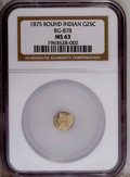 California Fractional Gold: , 1875 25C Indian Round 25 Cents, BG-878, R.3, MS63 NGC. Brightlymirrored fields and a touch of frost on the devices give th...