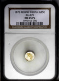 California Fractional Gold: , 1876 25C Indian Round 25 Cents, BG-879, R.4, MS65 Prooflike NGC.Typically struck with prooflike fields, mildly frosted dev...