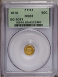 California Fractional Gold: , 1870 50C Goofy Head Round 50 Cents, BG-1047, High R.4, MS63 PCGS.Yellow and orange-gold surfaces display splashes of lime-...