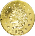 California Fractional Gold: , 1872 50C Indian Round 50 Cents, BG-1048, Low R.4, MS66 NGC.Attributed to Herman J. Brand. Small stars, with the sixth star...