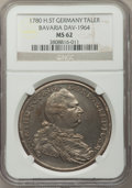 German States:Bavaria, German States: Bavaria. Karl Theodor Taler 1780 MS62 NGC,...