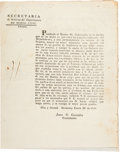 Autographs:Non-American, [1840 Border Skirmishes]. Jesus G. Gonzales Circular....