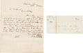Autographs:U.S. Presidents, [Mexican War] and [James K. Polk]. Two Free Franks to PresidentPolk.... (Total: 2 Items)
