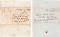 Miscellaneous:Ephemera, [Mexican War]. Two Home Front Letters to Soldiers in Mexico....