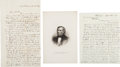 Autographs:Military Figures, [Mexican War]. Two Letters and One Engraving.... (Total: 2 Items)