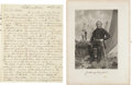 Autographs:Military Figures, [Mexican War]. Soldier's Letter with One Engraving of Zachary Taylor.... (Total: 2 Items)