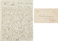 Miscellaneous:Ephemera, [Mexican War] and [Enos D. Hopping]. W.C. Hopping Autograph Letterand Cover....