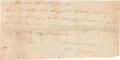 Autographs:Military Figures, [Texas Rangers]. Sterling C. Robertson Autograph Texas RangerDischarge Signed...
