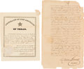 Miscellaneous:Ephemera, [McMullen-McGloin Colony]. Nathaniel Townsend Republic of Texas Consulate Certificate Signed and William Boswell Document Sign... (Total: 2 Items)