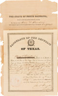 Miscellaneous:Ephemera, H.J. Budington Republic of Texas Consulate Certificate Signed....