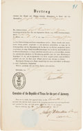 Miscellaneous:Ephemera, [German Emigration]. Printed German Emigration Certificate....