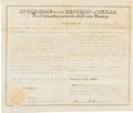 Autographs:Statesmen, David G. Burnet Republic of Texas Land Grant Signed...