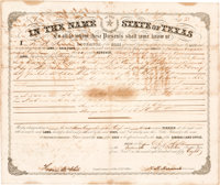 [Texas Emigration and Land Company]. Hardin R. Runnels Land Grant Signed