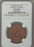 Brazil, Brazil: Republic copper Pattern 40 Reis 1889 MS65 Red and Brown NGC,...