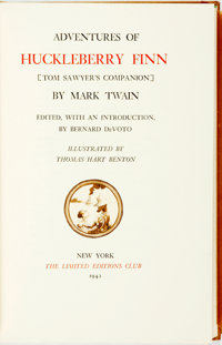 [Limited Editions Club] Thomas Hart Benton, illustrator. SIGNED. Mark Twain. The Adventures of Huckleberry Finn